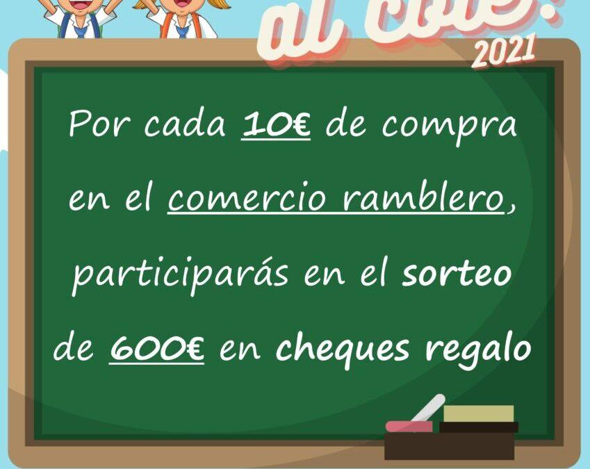 La campaña «Vuelta al cole 2021» pone en juego 600 euros en cheques regalo